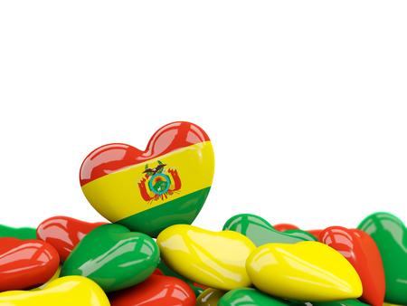 Corazón con la bandera de bolivia encima de los corazones del colourfull aislados en blanco. Ilustración 3D