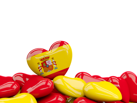 Heart with flag of spain on top of colourfull hearts isolated on white. 3D illustration Stock Photo