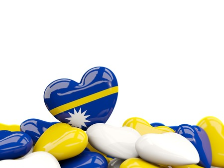 Heart with flag of nauru on top of colourfull hearts isolated on white. 3D illustration