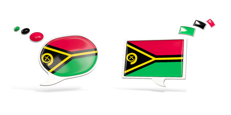 Two chat icons with flag of vanuatu. Round and square speech bubbles. 3D illustration Stock Photo