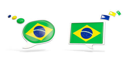 Two chat icons with flag of brazil. Round and square speech bubbles. 3D illustration
