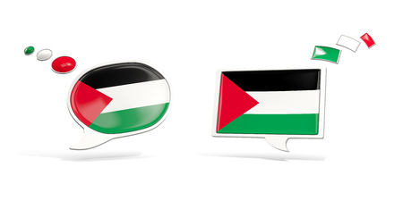 Two chat icons with flag of palestinian territory. Round and square speech bubbles. 3D illustration
