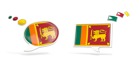 Two chat icons with flag of sri lanka. Round and square speech bubbles. 3D illustration