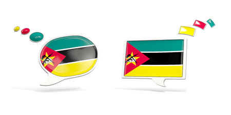 Two chat icons with flag of mozambique. Round and square speech bubbles. 3D illustration Stock Photo