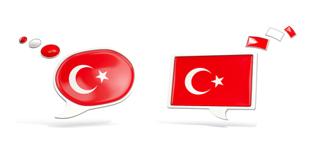 Two chat icons with flag of turkey. Round and square speech bubbles. 3D illustration Stock Photo