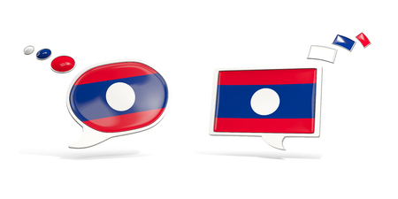 Two chat icons with flag of laos. Round and square speech bubbles. 3D illustration Stock Photo