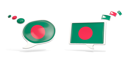 Two chat icons with flag of bangladesh. Round and square speech bubbles. 3D illustration