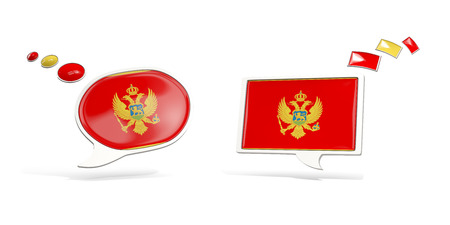 Two chat icons with flag of montenegro. Round and square speech bubbles. 3D illustration