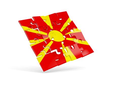 Raadselvlag van Macedonië op wit wordt geïsoleerd dat. 3D illustratie Stockfoto