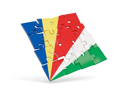 Puzzel vlag van Seychellen geïsoleerd op wit. 3D illustratie