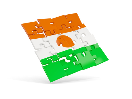 Puzzle flag of niger isolated on white. 3D illustration
