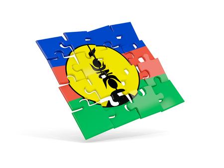 Puzzle flag of new caledonia isolated on white. 3D illustration