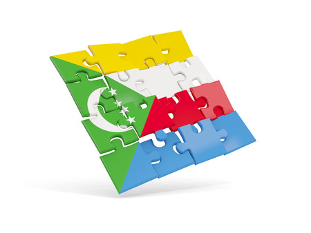 Puzzle flag of comoros isolated on white. 3D illustration