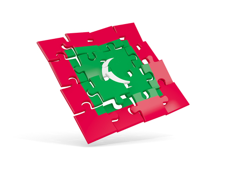 モルディブのパズル旗は、白に分離されました。3D イラストレーション