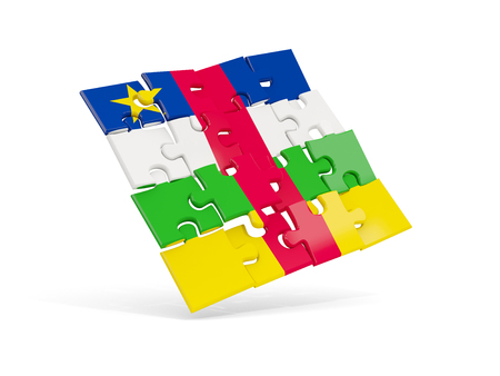 Puzzle flag of central african republic isolated on white. 3D illustration Stock Photo