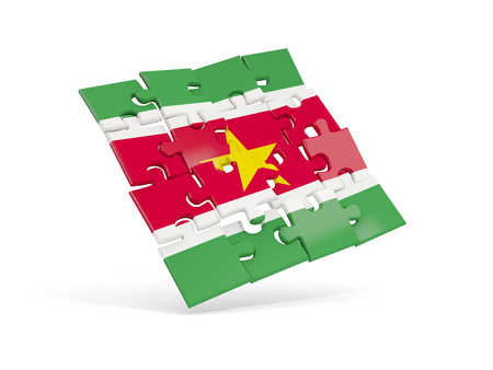 Puzzle flag of suriname isolated on white. 3D illustration Stock Photo