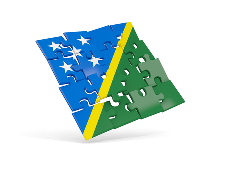 Puzzle flag of solomon islands isolated on white. 3D illustration