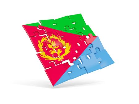 Puzzle flag of eritrea isolated on white. 3D illustration Stock Photo