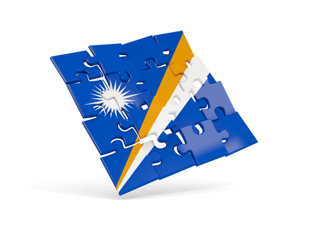 Puzzle flag of marshall islands isolated on white. 3D illustration