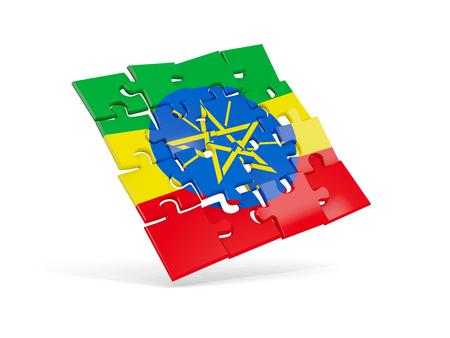 national flag ethiopia: Puzzle flag of ethiopia isolated on white. 3D illustration Stock Photo