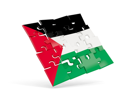 Puzzle flag of palestinian territory isolated on white. 3D illustration