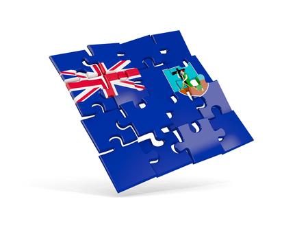 Puzzle flag of montserrat isolated on white. 3D illustration