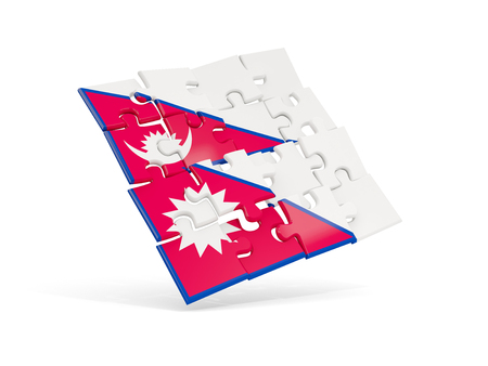 Puzzle flag of nepal isolated on white. 3D illustration