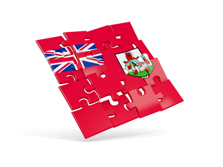 Puzzle flag of bermuda isolated on white. 3D illustration