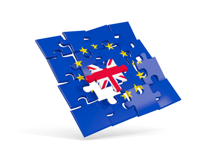 Puzzle flag of european union and flag of UK. 3D illustration