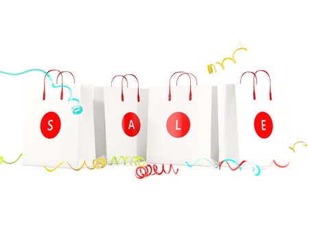 Sale and shopping concept. Paper shopping bags isolated on white. 3D illustration