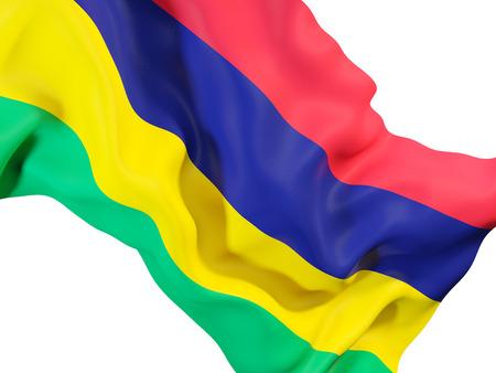 Closeup of waving flag of mauritius. 3D illustration