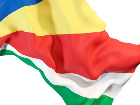 セイシェルの旗を振ってのクローズ アップ。3 D イラストレーション 写真素材