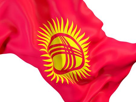 Closeup of waving flag of kyrgyzstan. 3D illustration Stock Photo