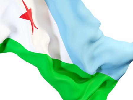Closeup of waving flag of djibouti. 3D illustration