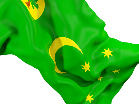 Closeup of waving flag of cocos islands. 3D illustration Stock Photo