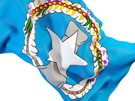 Closeup of waving flag of northern mariana islands. 3D illustration Stock Photo