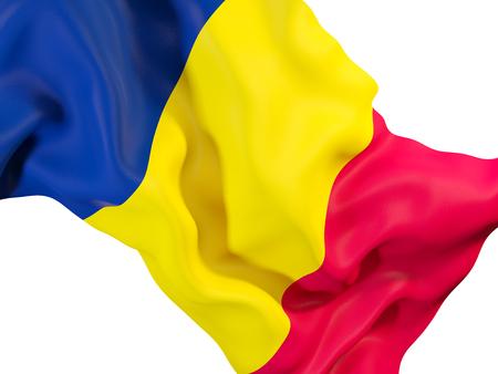 Closeup of waving flag of chad. 3D illustration Stock Photo