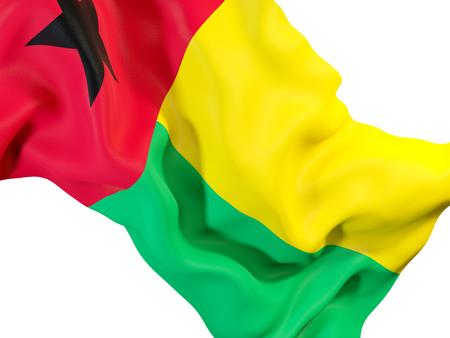 Closeup of waving flag of guinea bissau. 3D illustration
