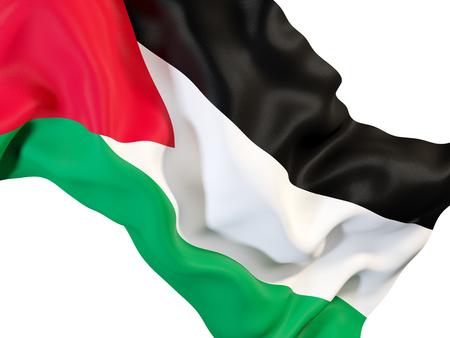 Closeup of waving flag of palestinian territory. 3D illustration