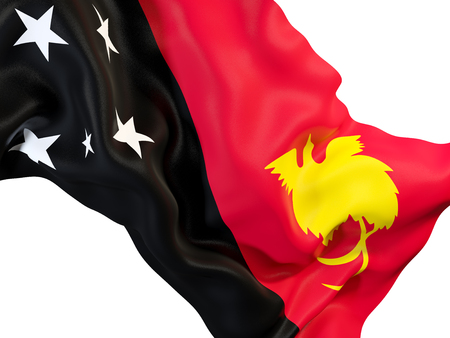 Closeup of waving flag of papua new guinea. 3D illustration Stock Photo