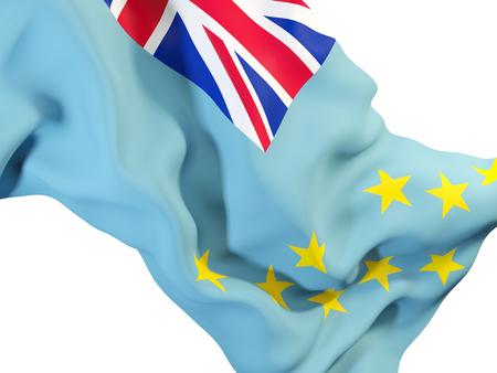 Closeup of waving flag of tuvalu. 3D illustration