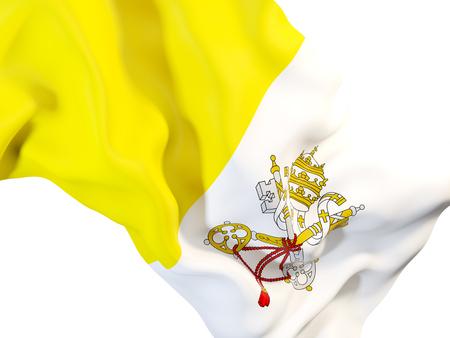 Closeup of waving flag of vatican city. 3D illustration