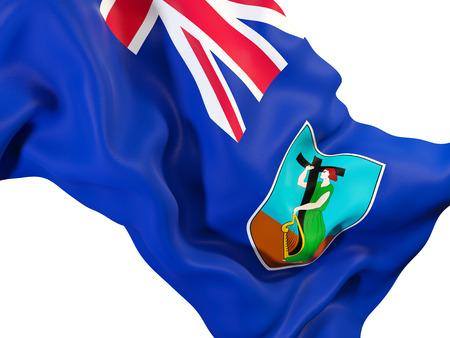 Closeup of waving flag of montserrat. 3D illustration