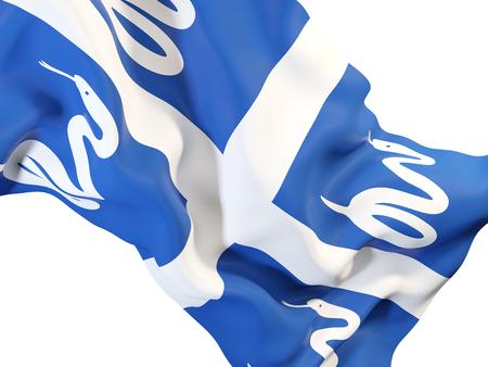 Closeup of waving flag of martinique. 3D illustration