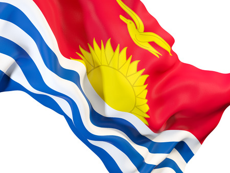 Closeup of waving flag of kiribati. 3D illustration Stock Photo