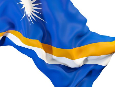 マーシャル諸島の国旗を振ってのクローズ アップ。3 D イラストレーション