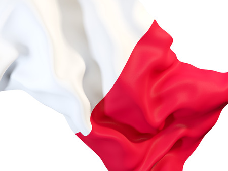 몰타의 국기를 흔들며의 근접 촬영입니다. 3D 일러스트 레이션