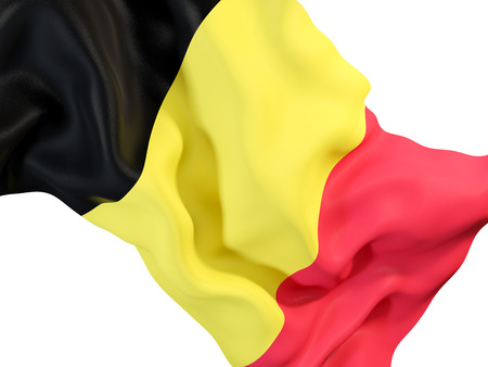 Closeup of waving flag of belgium. 3D illustration