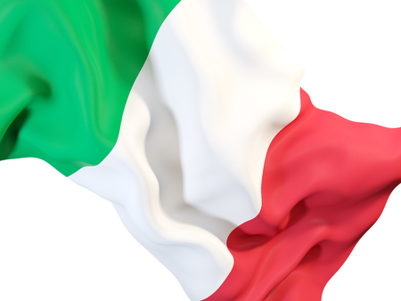 Closeup of waving flag of italy. 3D illustration Stock Photo