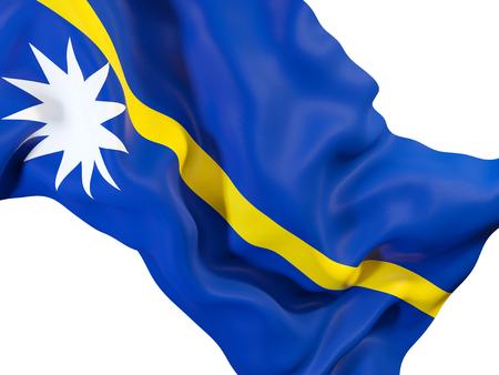 Closeup of waving flag of nauru. 3D illustration
